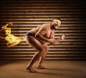Man farting flames